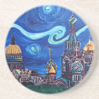 Starry Night in St Petersburg Russia Coaster