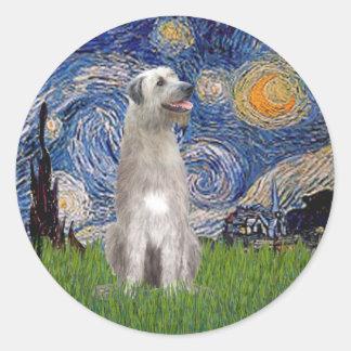 Starry Night - Irish Wolfhound Round Sticker