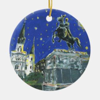 Starry Night Jackson Square Christmas Ornament