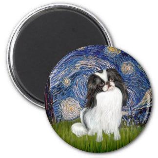 Starry Night - Japanese Chin 2 6 Cm Round Magnet