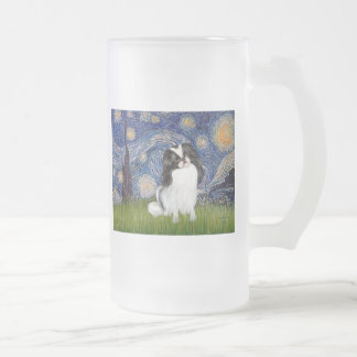Starry Night - Japanese Chin 2 16 Oz Frosted Glass Beer Mug
