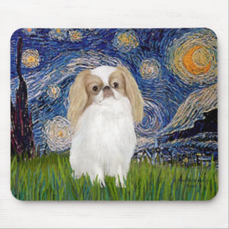 Starry Night - Japanese Chin (lemon 1) Mouse Pad