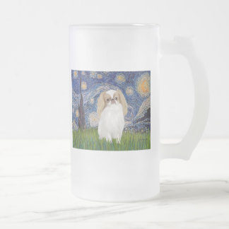 Starry Night - Japanese Chin (lemon 1) 16 Oz Frosted Glass Beer Mug