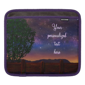 Starry Night Landscape - with customizable text - Sleeve For iPads