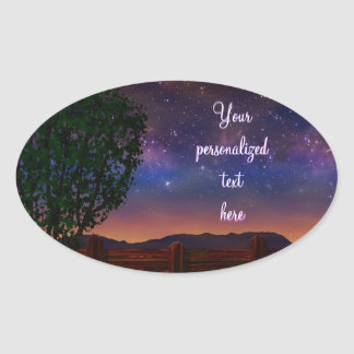 Starry Night Landscape - with customizable text - Oval Sticker