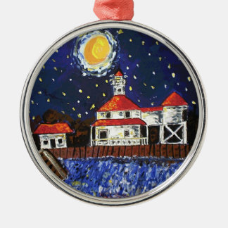 Starry Night Light House Christmas Ornament