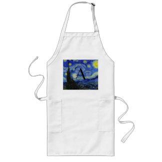 Starry night monogram apron