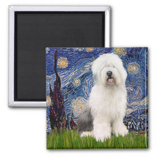 Starry Night - Old English #3 Square Magnet