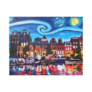Starry Night over Amsterdam Canal Canvas Print