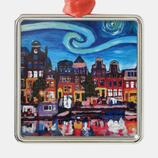 Starry Night over Amsterdam Canal Christmas Ornament