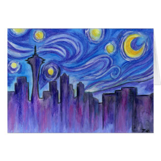 Starry Night Over Seattle Card