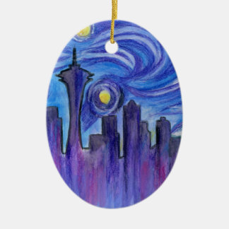 Starry Night Over Seattle Christmas Ornament
