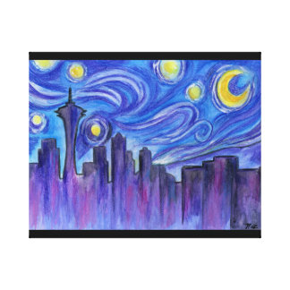 Starry Night Over Seattle Stretched Canvas Prints