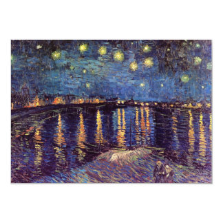 Starry night over the Rhone by Vincent van Gogh 5x7 Paper Invitation Card