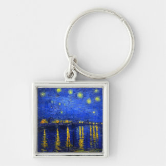 Starry Night Over the Rhone Key Ring