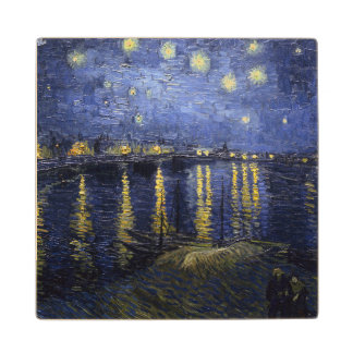 Starry Night Over the Rhone Maple Wood Coaster