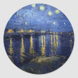 Starry Night Over the Rhone Round Stickers