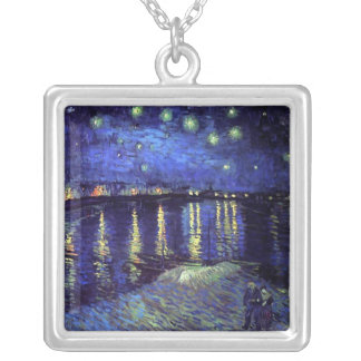 starry night over the rhone van gogh silver plated necklace