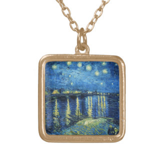 Starry Night over the Rhone Vincent van Gogh Square Pendant Necklace