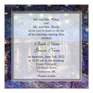 Starry Night over the Rhone, wedding 13 Cm X 13 Cm Square Invitation Card