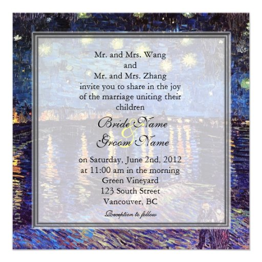 Starry Night over the Rhone, wedding Personalized Announcement