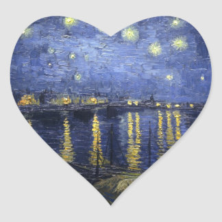 Starry Night Over The River Rhone Heart Sticker