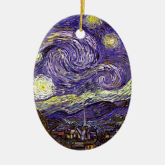 Starry Night painting by artist Vincent Van Gogh Christmas Ornament