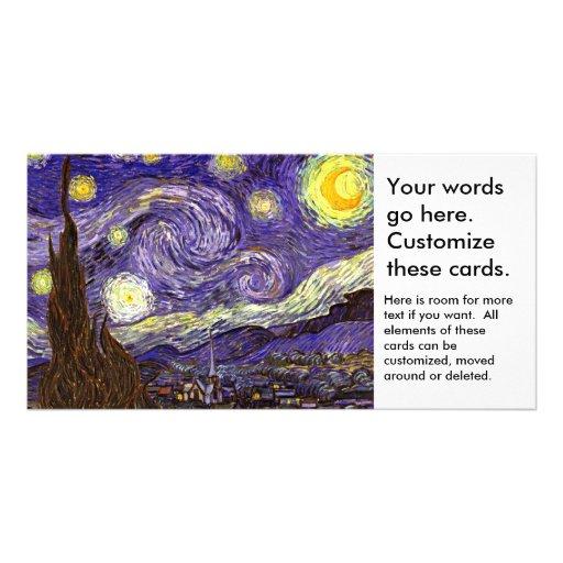 Starry Night painting by artist Vincent Van Gogh Custom Photo Card