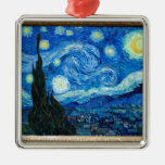 Starry Night Painting By Painter Vincent Van Gogh Silver-Colored Square Decoration