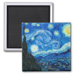 Starry Night Painting By Painter Vincent Van Gogh Square Magnet