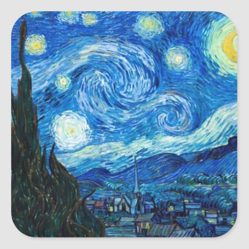 Starry Night Painting By Painter Vincent Van Gogh Square Stickers
