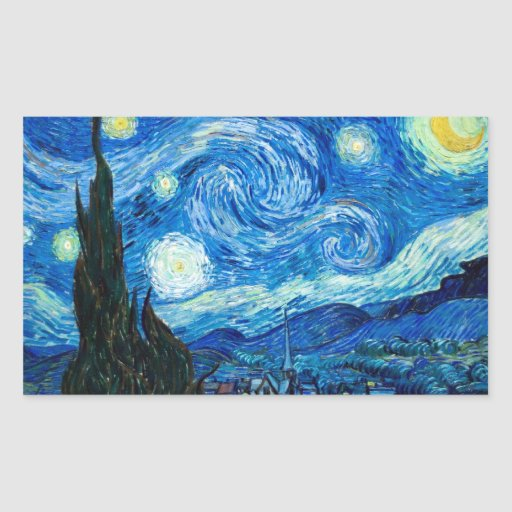 Starry Night Painting By Painter Vincent Van Gogh Rectangle Stickers