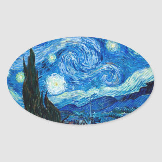 Starry Night Painting By Painter Vincent Van Gogh Oval Stickers