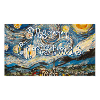 Starry Night painting repaint Merry Christmas Double-Sided Standard Business Cards (Pack Of 100)
