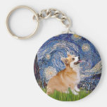 Starry Night - Pembroke Welsh Corgi 7b Basic Round Button Key Ring