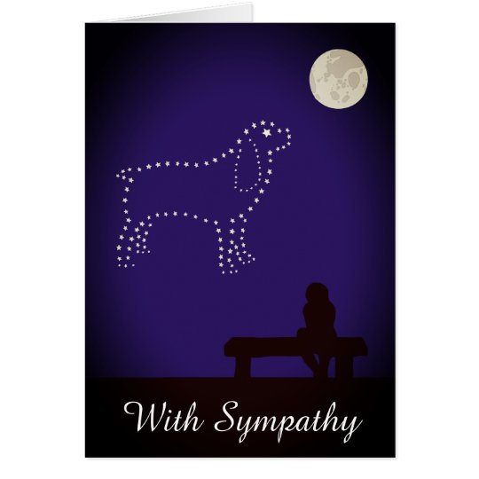 Starry Night Pet Spaniel Dog Sympathy Card