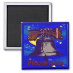 Starry Night Philadelphia Liberty Bell Square Magnet