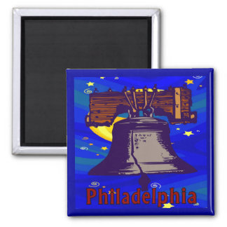 Starry Night Philadelphia Liberty Bell Square Magnet