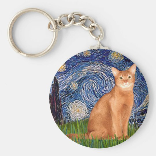 Starry Night - Red Abyssinian Basic Round Button Key Ring