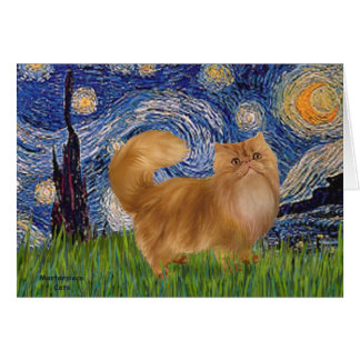 Starry Night - Red Persian cat Card