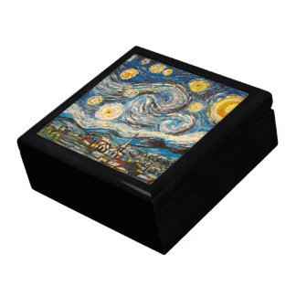 Starry Night repaint after Van Gogh Wooden Box