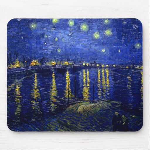 Starry Night Rhone by Van Gogh Mouse Pads