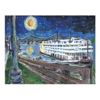 Starry Night Riverboat Holiday Postcard