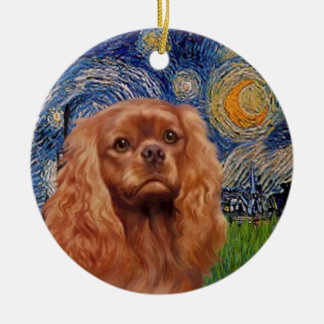 Starry Night - Ruby Cavalier King Charles Round Ceramic Decoration