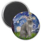 Starry Night - Russian Blue cat Magnet