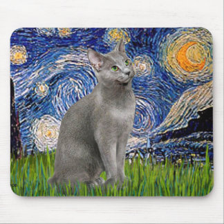 Starry Night - Russian Blue cat Mouse Pads