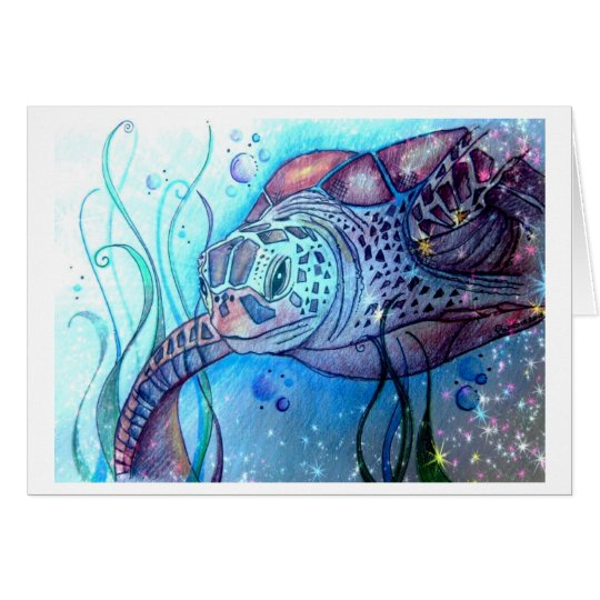 Starry Night Sea Turtle Greeting Card