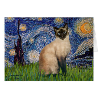 Starry Night - Seal Point Siamese cat Card