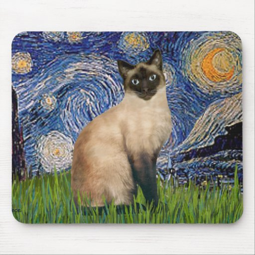 Starry Night - Seal Point Siamese cat Mouse Pad