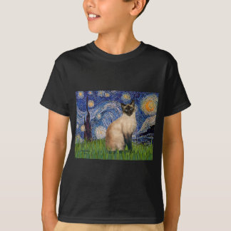 Starry Night - Seal Point Siamese cat T-Shirt